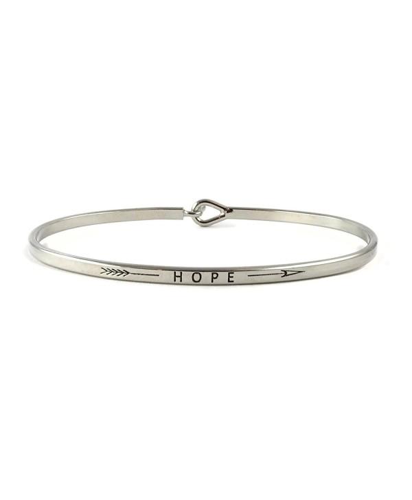 Hope Inspirational Hook Bangle Bracelet - Rhodium - CC185GU9T2G