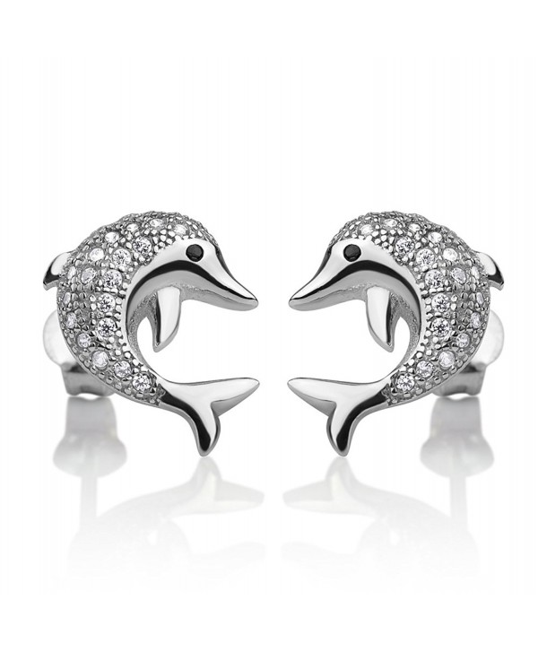 925 Sterling Silver CZ Stones Jumping Playful Dolphin Fish Lovers Post Stud Earrings 14x12 mm - CI184CHNHXQ