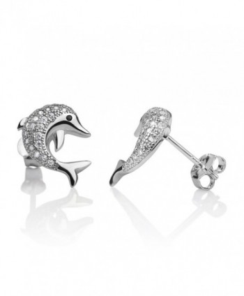 Sterling Jumping Playful Dolphin Earrings