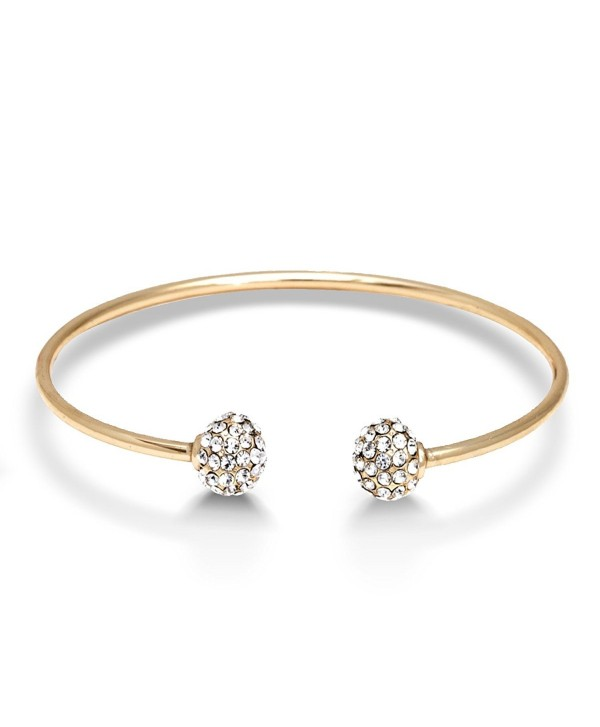 Yellow Gold Plated Open Bangle Bracelet with Crystal End Piece - CZ11LOCD6YR