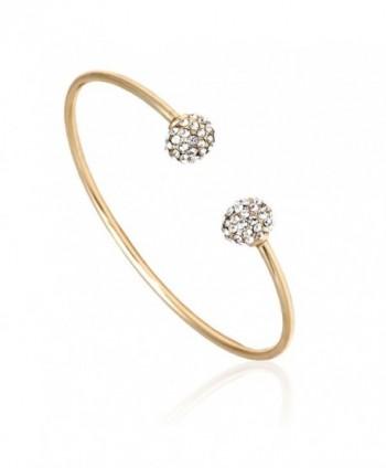 Yellow Plated Bangle Bracelet Crystal