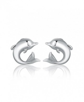 MBLife 925 Sterling Silver Big-Tail Dolphin Sea Animal Stud Earrings - CN1277O6V47