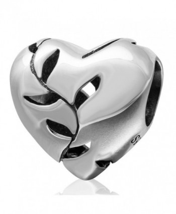 Ollia Jewelry 925 Sterling Silver Bead Love Heart Charm Willow Leaf Charm Tree Bead Glossy Charm Openwork Charms - CJ12EZ2YAC3
