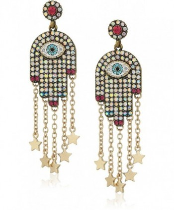 Betsey Johnson Womens Multi-Stone and Gold Hamsa Drop Earrings - MULTI - C6183QDILH2