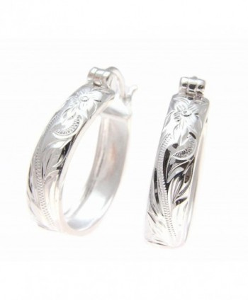 20mm Sterling silver 925 Hawaiian plumeria flower scroll oval hoop earrings - CE183L2S4XI