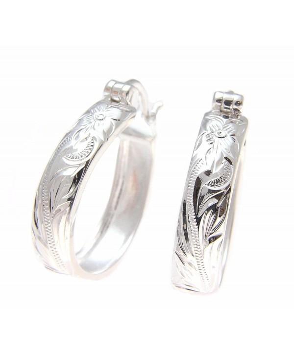 20mm Sterling silver 925 Hawaiian plumeria flower scroll oval hoop earrings - CE183L2S4XI