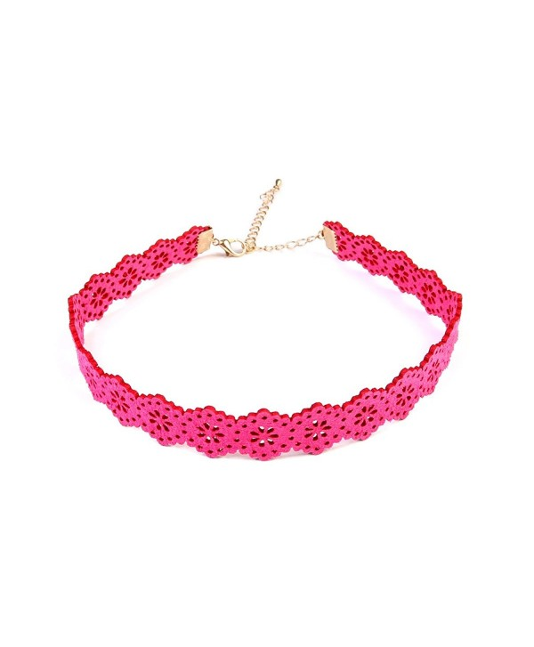 MYS Collection Women's Floral Pattern Choker - Hot Pink - CG12MEVACBZ