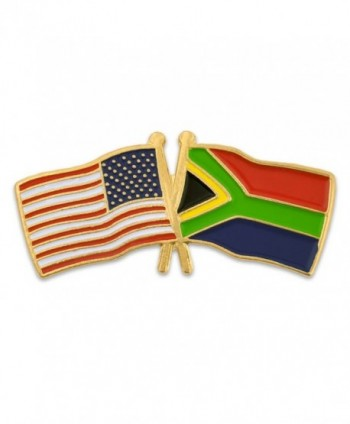 PinMart's USA and South Africa Crossed Friendship Flag Enamel Lapel Pin - CA11L6BOX7P
