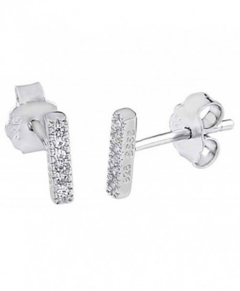Short Small Bar Clear CZ .925 Sterling Silver Thin Petite Stud Earrings - CW122BGEJ09