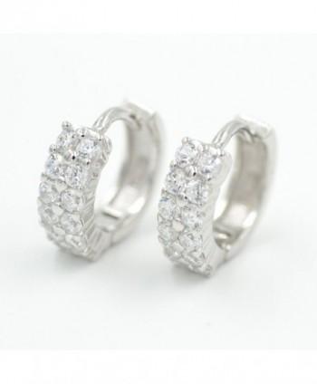 Rhinestone Huggie Hoop Earrings in Sterling Silver 925 Rhodium Plated - C512GHYW5CF