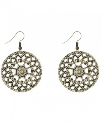 Yazilind Bohemian Vintage Craved Alloy Hollow Out Lotus Dangle Earrings Women Girls - CN1820NA80L