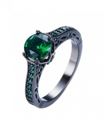 Junxin Jewelry Single Round Main Stone Women Engagement Ring Emerald Color - CV11XTH450T