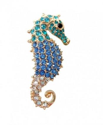 Navachi 18k Gold Plated Blue Crystal Hippocampus Az7272b Brooch Pin - CB11VYO4MON