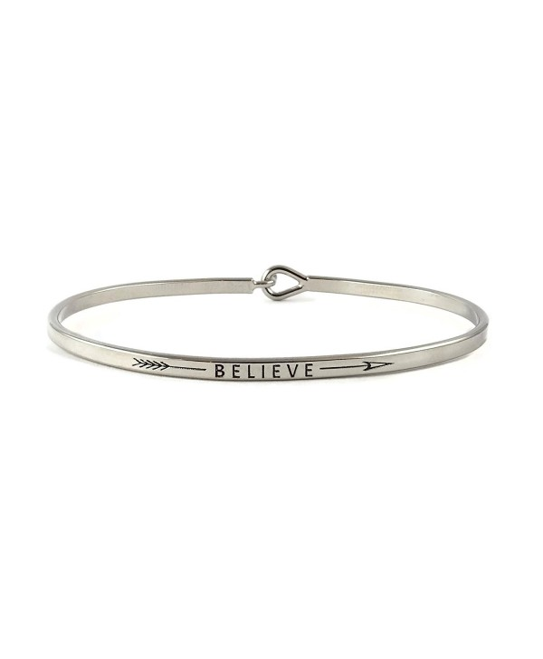 Believe Inspirational Hook Bangle Bracelet - Rhodium - C3185GXZU8O