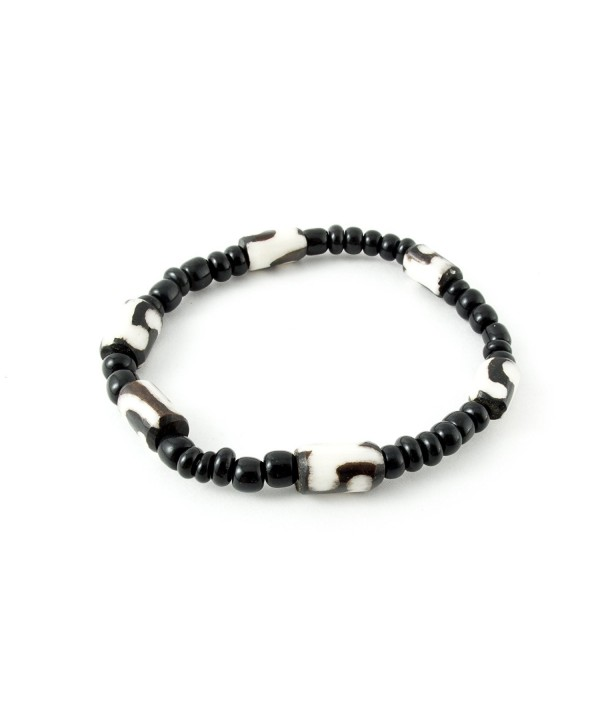 Maisha Beautiful African Fair Trade Black and Off White Single Strand Stretchy Bracelet - CG11C4CNLF5