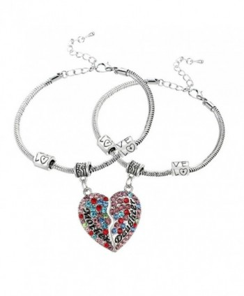 2PCs Matching Heart Mother Best Friends Forever Full CZ Diamond Engraved Letter Heart Bracelets Set - Multicolor - CH17AAS73NN