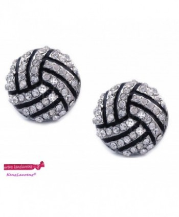 Volleyball Earrings Studs - Crystal Rhinestone Post Silver Bling by Kenz Laurenz - CA11RTEDCBL
