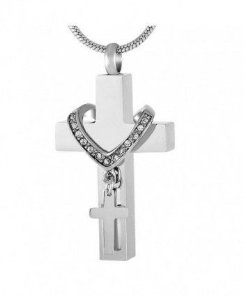 Alwayshere Memorial Collet Cross Urn Necklace Stainless Steel Cremation Jewelry - CT185UL3UGQ