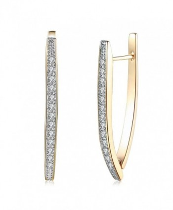Anni Coco Hoop Earrings 18K Double Color Gold Plated Clear Cubic Zirconia Triangle Earrings For Women - C1188WI4XHD