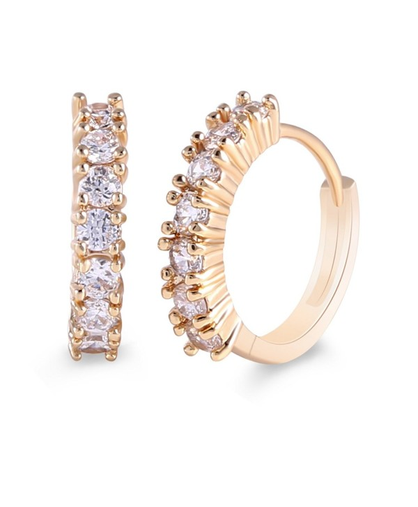 GULICX Gold Tone Simple Style Rhinestone Party Stunning Hoop Huggy Earrrings for Women - CG11ZXSI94P