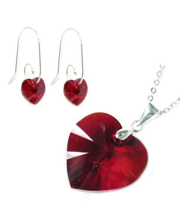 "Sterling Silver Red Swarovski Elements Crystal Heart Earrings Pendant Necklace Set- 16"" + 2"" Extender - C211JSUWV93"