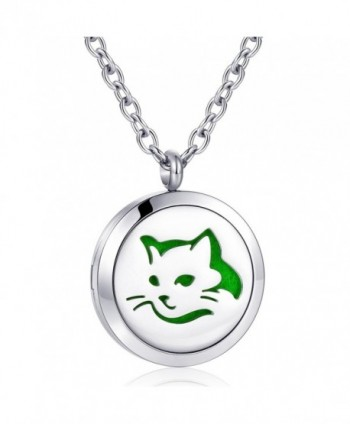Aromatherapy Diffuser Necklace Essential Stainless - love cat necklace - C6186DNUACI