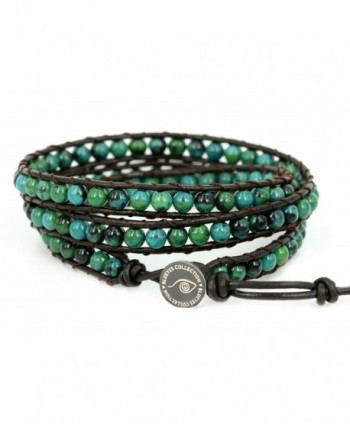 "BLUEYES COLLECTION ""Amicable"" Blue Mix Green ChrysocollaGemstone Beads Genuine Leather Bracelet- 3 Wraps - C811LDEXYHP"