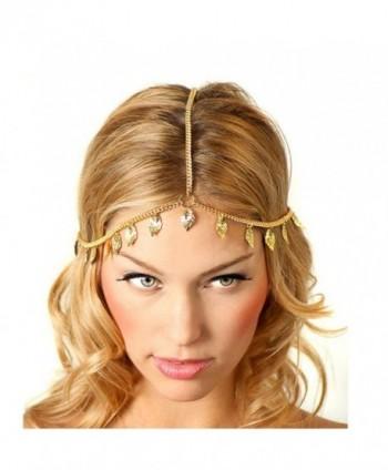 Baishitop Women Leaf Tassels Golden Head Chain - CC12FK8WFAF