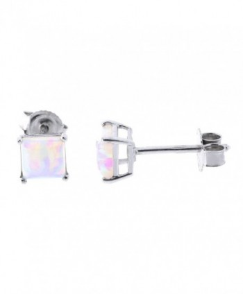 Solid Sterling Silver Rhodium Plated Square White Simulated Opal Stud Earrings - C2187YOH8U4