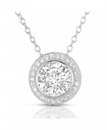 Sterling Silver Round Cubic Zirconia Halo Pendant Necklace - CA11M4MMSZJ