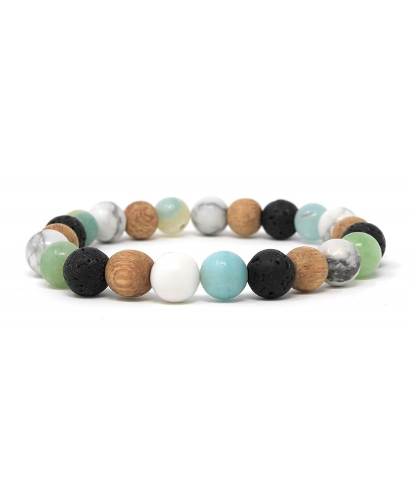 Mana Vibes Multi Colored Essential Oil Bracelet- Lava Rock Natural Rosewood White Howlite Amazonite 8mm - CX12O2UIYAP