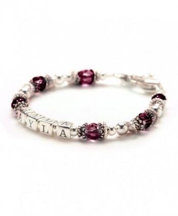 Personalized Baby Child Bracelet - January Birthday Crystal & Sterling Silver - CL115RYBD7P