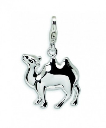 Sterling Silver 3-D Enameled Camel W/Lobster Clasp Charm - CD114W6RZ3Z