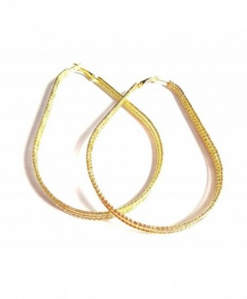Large Hoop Earrings Teardrop Hoop Earrings Silver or Gold Tone 3 inch wide - CR12IPY151R