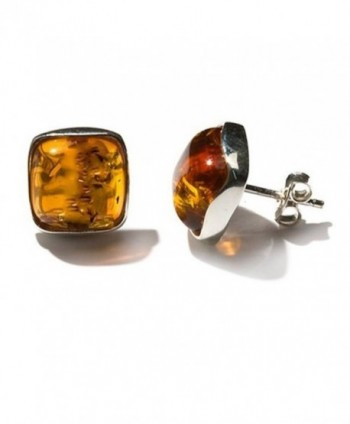 Amber Sterling Silver Perfect Square Stud Earrings - CX182WLMRL4