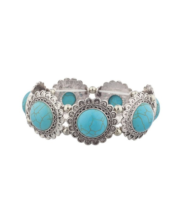 Lux Accessories Marble Stone Circle Casted Stretch Bracelet - Burnish Silver Turq - C712L9KF8W1