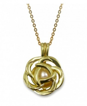 "Pearlina Cultured Pearl Oyster Necklace Set Rose Flower Gold Plated Pendant w/ Stainless Steel Chain 18"" - CU12BTVUTLZ"