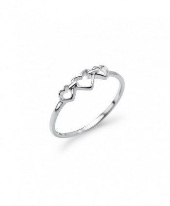 Triple Heart Interlocked Infinity Ring - Sterling Silver Round Cut Promise Band Sizes 5 to 12 - CX182IQWXIQ