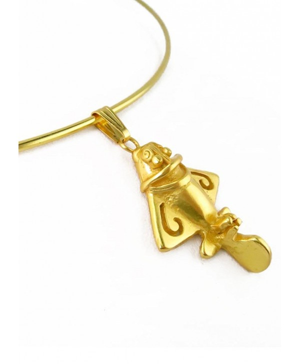 Pre-Columbian Golden Jet-3 Omega Choker Necklace - C311R4O1KEH