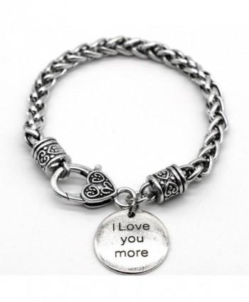 Antique Silver Tone Braid Inspiration Bracelet- I Love You More- Handmade in USA- SB11 - C8186TW2I8Z