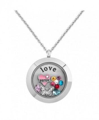 Q&Locket Sister Flower Butterfly Crystal Floating Charms Womens Living Glass Locket Pendant Necklace - C112JYLNB5N