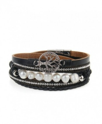 Jenia Leather Bracelet Pearl Wristband - leather bracelet unique-black - CY1853E4G3S