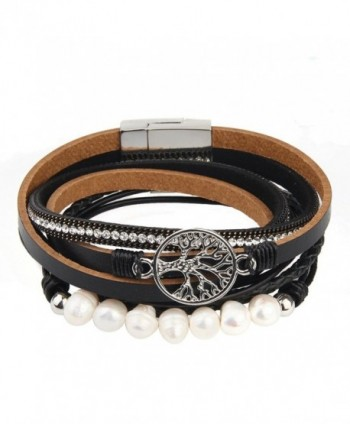 Jenia Leather Bracelet Pearl Wristband