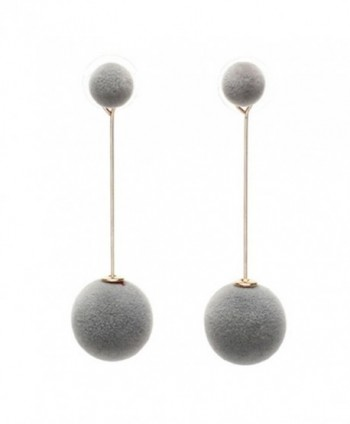 18K Gold Plated Two-Tone innovative Double Grey/ wine red Plush ball Women Dangle Earrings - Grey - CO186L0EK8L