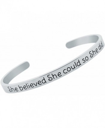 Inspirational Bracelet BELIEVED Positive Friendship - Stainless Steel - CA1879N049N