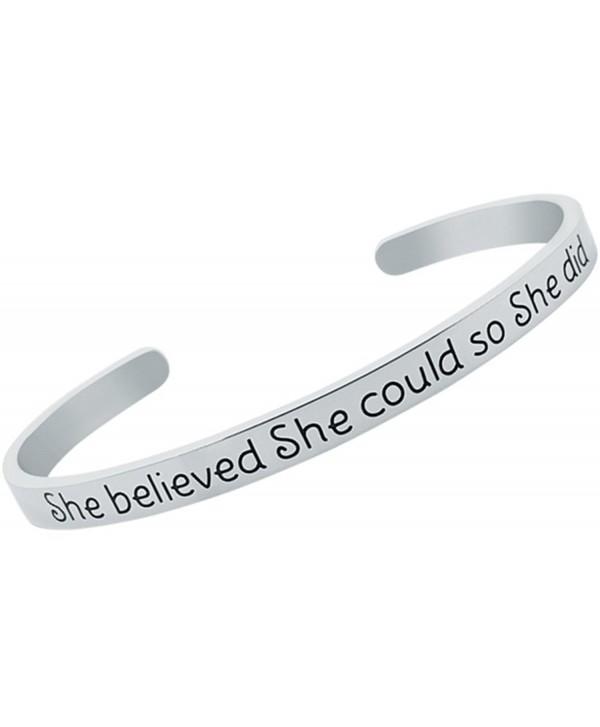 Inspirational Bracelet BELIEVED Positive Friendship - Stainless Steel - CA1879N049N
