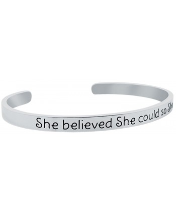 Inspirational Bracelet BELIEVED Positive Friendship in Women's Cuff Bracelets