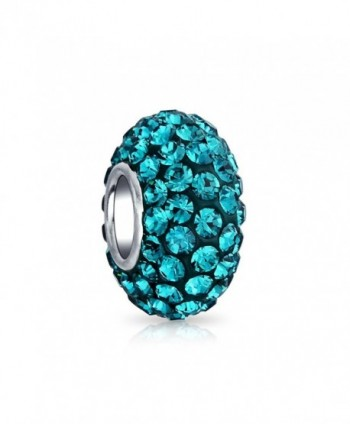 Bling Jewelry 925 Sterling Silver Teal Blue Crystal Bead Charm - CZ118WRHHW9