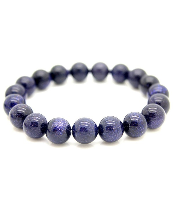 5 Size for Choose Blue Gravel Beads Blue Star Stone Bracelet Real Natural Gemstones Healing Power Bangle - 12mm - C11838YMXO9