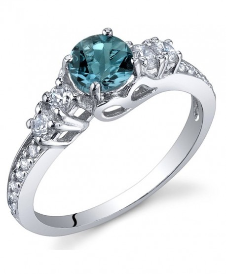 Enchanting 0.50 Carats London Blue Topaz Ring in Sterling Silver Rhodium Nickel Finish Sizes 5 to 9 - CG115WB7ZVV